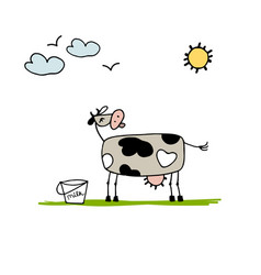 Cow grazing in meadow sketch for your design vector