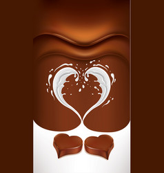 Dark chocolate background with milk heart splash vector
