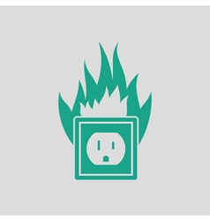 Electric outlet fire icon vector