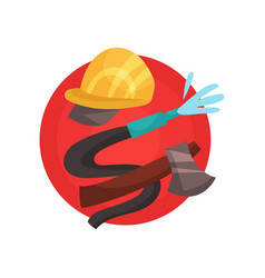 fireman profession icon firefighter elements vector image