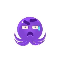 Funny Octopus In Cold Sweat Emoji vector image vector image