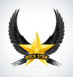 Golden star with rock star banner and wings vector