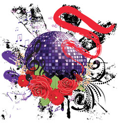 grunge purple disco ball vector image vector image