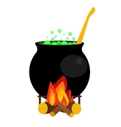 Halloween witch cauldron with green potion vector image