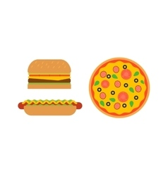 Hamburger and pizza fast food vector image
