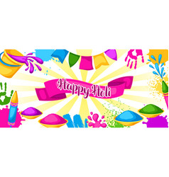 Happy holi colorful banner of vector
