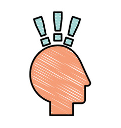 Human head profile with exclamation mark vector