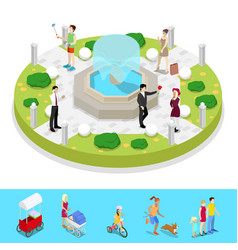 isometric city park composition with fountain vector image vector image
