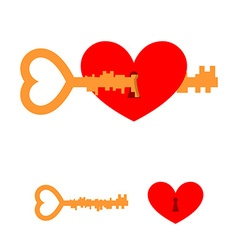 Key and love key to heart red love with lock hole vector