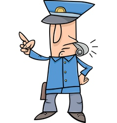 policeman with whistle cartoon vector image vector image