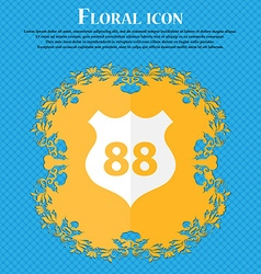 Route 88 highway icon sign floral flat design on a vector