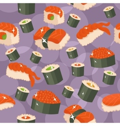 Seamless sushi background vector
