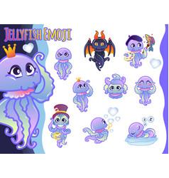set of emoticons set of jellyfish emoji vector image