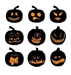 Set of halloween pumpkins with different vector image