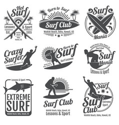 Surfing club vintage emblems surf board on vector