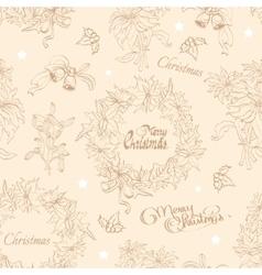 Vintage beige christmas wreath flowers vector