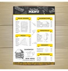 Vintage fast food menu design vector