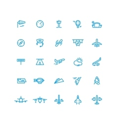 Aviation and airport line icons set vector