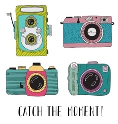 Photo cameras with lettering - catch the moment vector