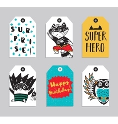 Set of 6 printable hand drawn super hero label vector