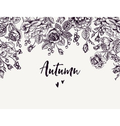Vintage background with garden roses vector