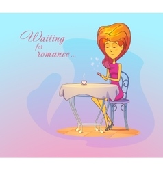 Woman or girl at cafe waiting for date romance vector