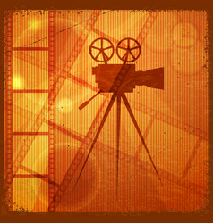 Orange background with the silhouette of movie vector