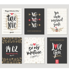 Valentines day hand drawn greeting set vector