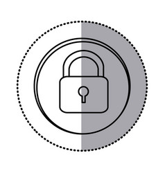 Monochrome contour with circle sticker of padlock vector