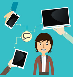 Men communicate with devices vector
