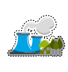 sticker factory pollution near to trees and house vector image