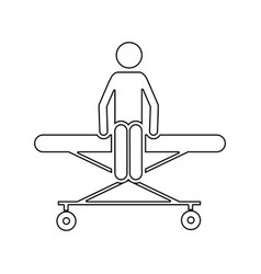 Silhouette pictogram patient sit in stretcher vector