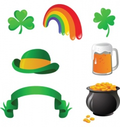 St patrick day icon set vector