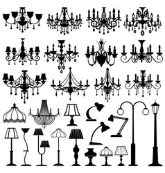 Home and outdoor lightning lamps and chandeliers vector
