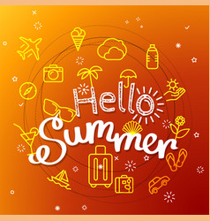 hello summer concept different thin line icons vector image