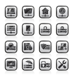 server hosting and internet icons vector image
