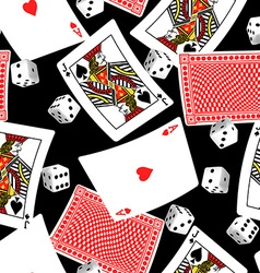 Six sided dice and blackjack cards seamless vector