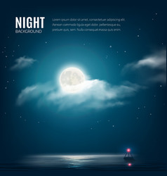 Night nature cloudy sky with stars moon and sea vector