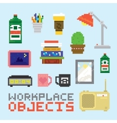 Workplace objects set vector