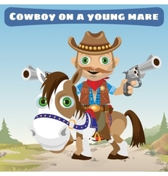 Cowboy rider on a young bay mare vector