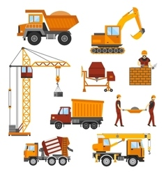 Building under construction workers and vector image