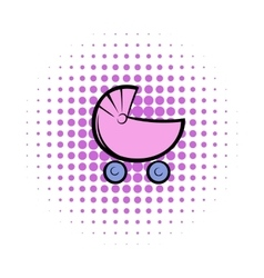 Pram comics icon vector