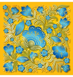 Abstract summer blue floral ornament on yellow vector