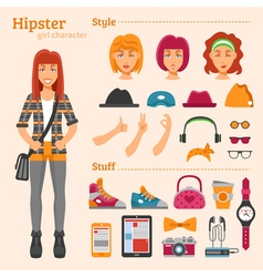 Hipster girl character decorative icons set vector