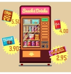 Retro vending machine with snacks and vector