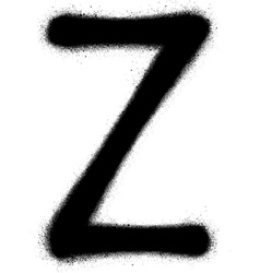 Sprayed z font graffiti in black over white vector