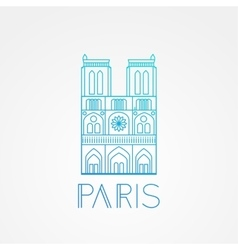Notre dame de paris cathedral france hand vector