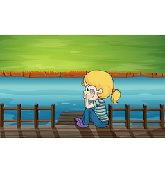 A little girl at the bridge vector image