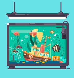 aquarium with fishes algae and decorations flat ve vector image