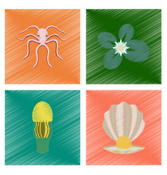 Assembly flat shading style octopus vector